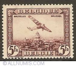 Image #1 of 5 Francs 1930 - Airmail - Plane above Brussels