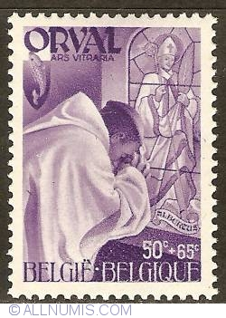 Image #1 of 50 + 65 Centimes 1941 - Orval Abbey - Monks - Stained Glass