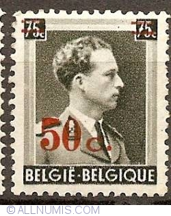 Image #1 of 50 over 75 Centimes 1941 Leopold III overprint
