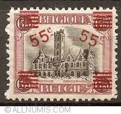 Image #1 of 55 on 65 Centimes 1921 - City Hall of Dendermonde - overprint