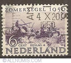 Imaginea #1 a 6 + 4 Cent 1950 - Modern Harvest Machine - Wieringermeer