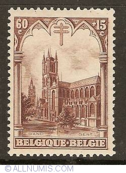 Image #1 of 60+15 Centimes 1928 - Cathedral St. Bavo - Ghent
