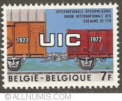 Image #1 of 7 Francs 1972 - 50th Anniversary of International Railway Union