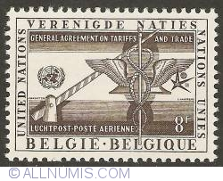 Imaginea #1 a 8 Francs 1958 - Air Mail - General Agreement on Tariffs and Trade