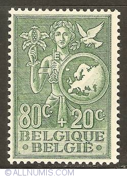 Image #1 of 80 + 20 Centimes 1953 - European Office for Youth and Children