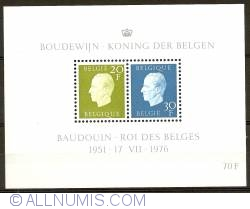 Image #1 of 70 Francs 1976 - Silver Jubilee King Baudouin Souvenir sheet