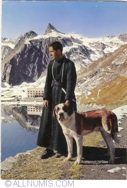 Image #1 of Great Saint Bernard Pass - Monk with his Dog (1972)