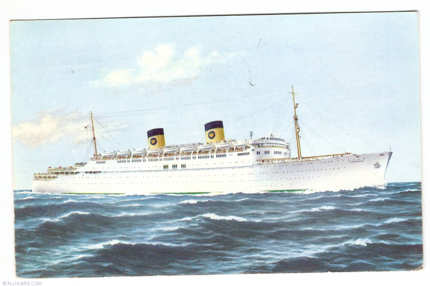 Home Lines SS Homeric Nave Home Lines Postcard - Homeric cruise ship