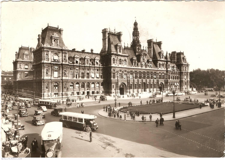 Paris city hall h tel de ville 1950 paris france postcard 30544 for Piscine pronunciation