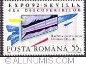 55 lei 1992 - World exhibition Sevilla-Hermann Oberth rocket