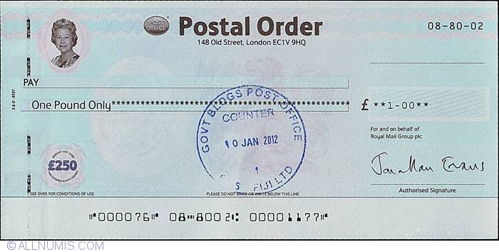 1 Pound 2012 (10th. of January)., British Postal Orders ...