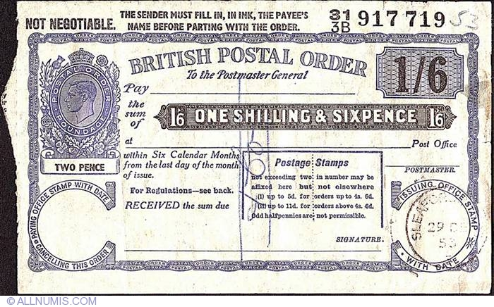 1 Shilling & 6 Pence 1953 (29th  of December), British